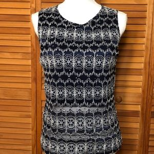 Brittany Black Blue Sleeveless Top Size Large